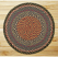 Burgundy, Blue, and Gray Braided Jute Rug, Round