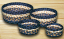 Light/Dark Blue and Mustard Braided Jute Basket Set, by Capitol Earth Rugs