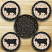 Cow Silhouette Braided Coaster Set, by Capitol Earth Rugs