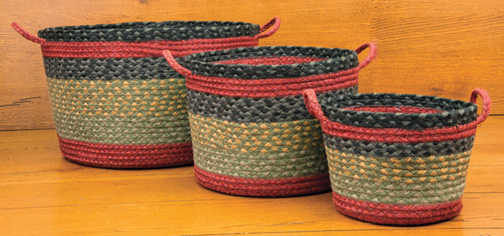Mini Burgundy, Olive and Charcoal Braided Utility Basket, by Capitol Earth Rugs