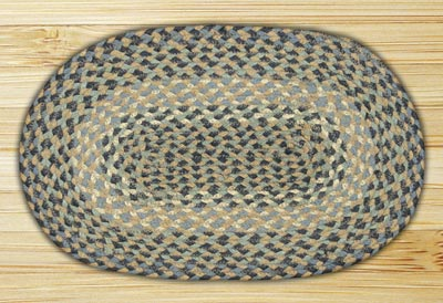Blue and Natural Braided Jute Tablemat - Oval