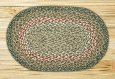 Green and Burgundy Braided Jute Tablemat - Oval