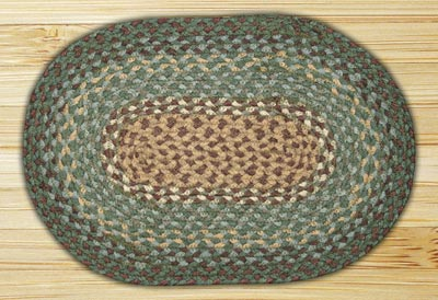 Dark Green Braided Jute Tablemat - Oval