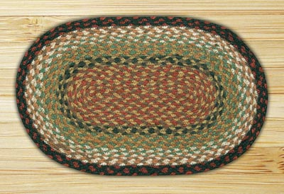Burgundy and Mustard Braided Jute Tablemat - Oval