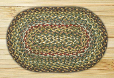 Fir and Ivory Braided Jute Tablemat - Oval