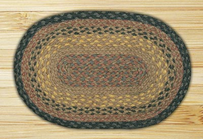 Brown, Black, and Charcoal Braided Jute Tablemat - Oval