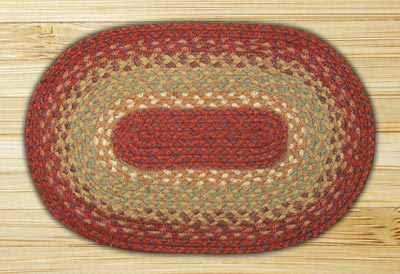 Burgundy, Maroon, and Sunflower Braided Jute Tablemat - Oval