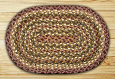 Olive, Burgundy, and Gray Braided Jute Tablemat - Oval