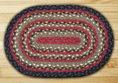 Burgundy, Olive, and Charcoal Braided Jute Tablemat - Oval