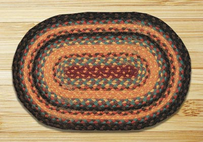 Russet and Butternut Squash Braided Jute Tablemat - Oval