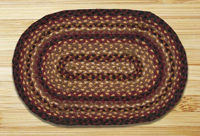 Black Cherry, Chocolate, and Cream Braided Jute Tablemat - Oval
