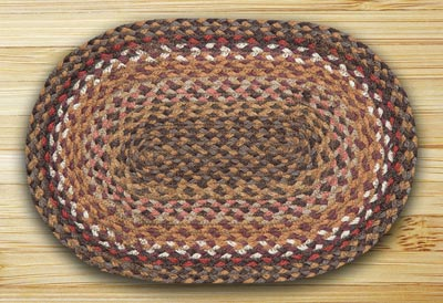 Brick, Clay, and Ivory Braided Jute Tablemat - Oval