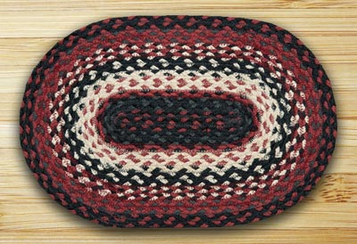 Black, Ivory, Country Red Braided Jute Tablemat - Oval