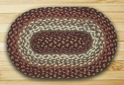 Revere Green and Barn Red Braided Jute Tablemat - Oval
