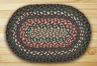 Green, Ivory, and Brownstone Braided Jute Tablemat - Oval