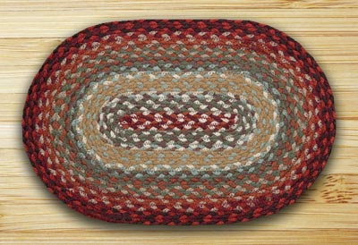 Thistle Green and Country Red Braided Jute Tablemat - Oval
