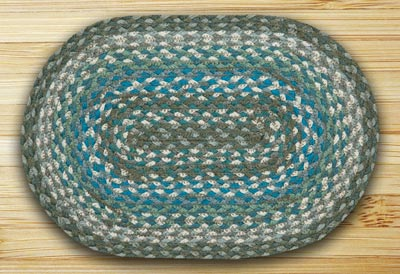 Sage, Ivory, Settlers Blue Braided Jute Tablemat - Oval