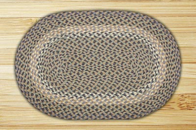 Blue and Natural Braided Jute Rug, Oval - 20 x 30 inch