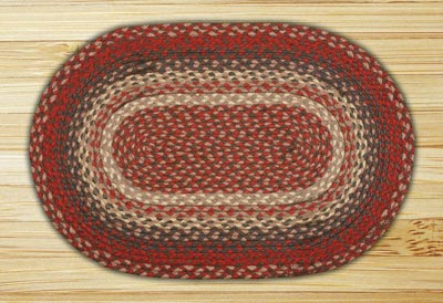 Burgundy Braided Jute Rug, Oval - 27 x 45 inch