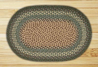 Dark Green Braided Jute Rug, Oval - 27 x 45 inch