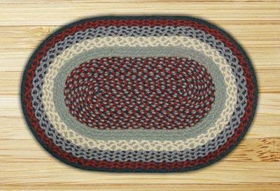 Blue and Burgundy Braided Jute Rug, Oval - 20 x 30 inch