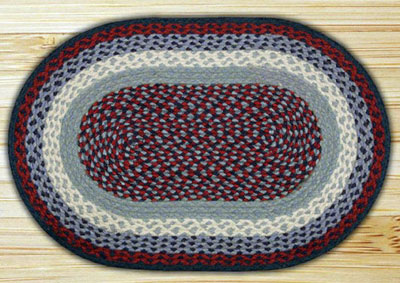 Blue and Burgundy Braided Jute Rug, Oval - 27 x 45 inch