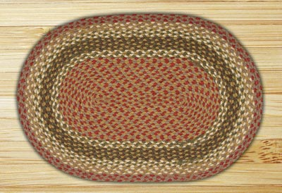 Olive, Burgundy, and Gray Braided Jute Rug, Oval - 20 x 48 inch