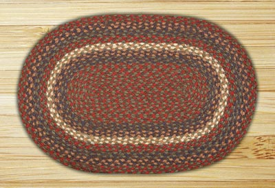 Burgundy and Gray Braided Jute Rug, Oval (Special Order Sizes)