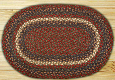 Burgundy and Gray Braided Jute Rug, Oval - 27 x 45 inch