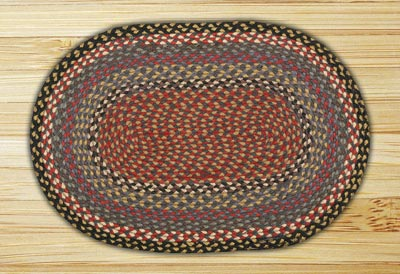 Burgundy, Blue, and Gray Braided Jute Rug, Oval - 27 x 45 inch
