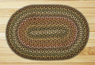 Fir and Ivory Braided Jute Rug, Oval - 27 x 45 inch