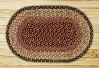 Burgundy, Gray, and Creme Braided Jute Rug, Oval (Special Order Sizes)
