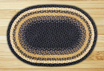Light Blue, Dark Blue, and Mustard Braided Jute Rug, Oval - 27 x 45 inch