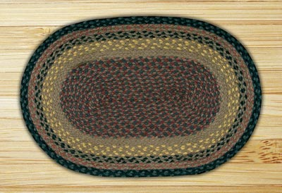 Brown, Black, and Charcoal Braided Jute Rug, Oval (Special Order Rugs)