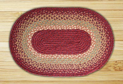 Burgundy, Maroon, and Sunflower Braided Jute Rug, Oval - 20 x 30 inch
