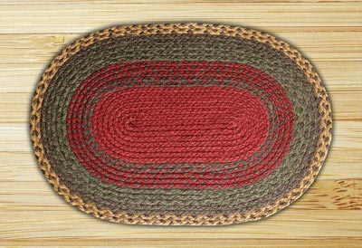 Burgundy, Green, and Sunflower Braided Jute Rug, Oval - 27 x 45 inch