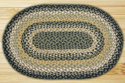 Black, Mustard, and Creme Braided Jute Rug, Oval - 20 x 36 inch