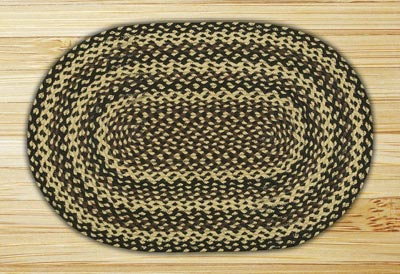 Ebony, Ivory, and Chocolate Braided Jute Rug, Oval - 27 x 45 inch