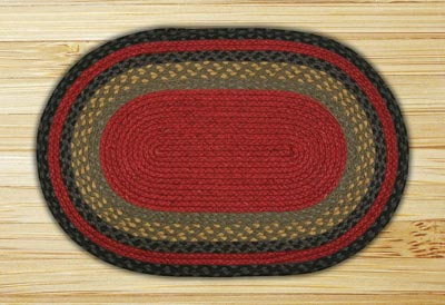 Burgundy, Olive, and Charcoal Braided Jute Rug, Oval - 27 x 45 inch