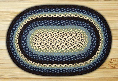 Blueberry and Creme Braided Jute Rug, Oval - 20 x 30 inch