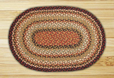 Burgundy, Mustard, and Ivory Braided Jute Rug, Oval (Special Order Sizes)
