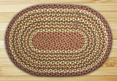 Olive, Burgundy, and Gray Braided Jute Rug, Oval - 2 x 6 foot