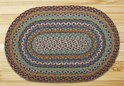 Blue, Violet, and Cream Braided Jute Rug, Oval - 27 x 45 inch