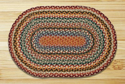Burgundy, Russet, and Blue Sky Braided Jute Rug, Oval - 20 x 30 inch