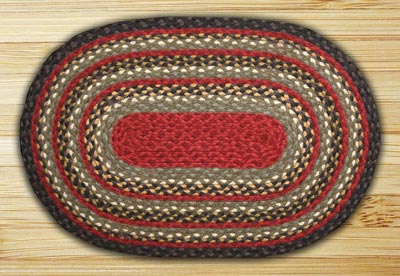Burgundy, Olive, and Charcoal Braided Jute Rug, Oval (Special Order Sizes)