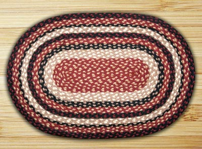 Burgundy, Black, and Tan Braided Jute Rug, Oval - 27 x 45 inch