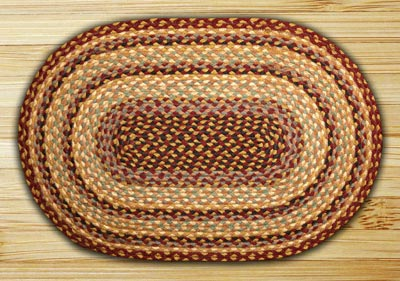 Burgundy, Gray, and Creme Braided Jute Rug, Oval - 20 x 30 inch