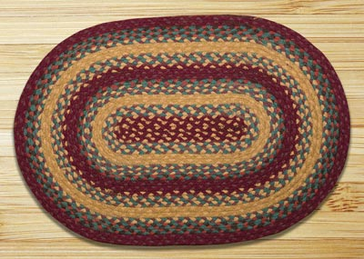 Marigold and Wine Braided Jute Rug, Oval - 20 x 30 inch