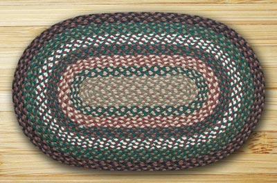 Green, Ivory, and Brownstone Braided Jute Rug, Oval - 20 x 30 inch