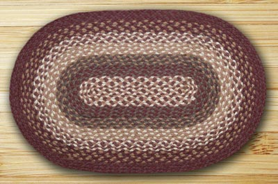 Mulberry, Ivory, and Brownstone Braided Jute Rug, Oval - 27 x 45 inch